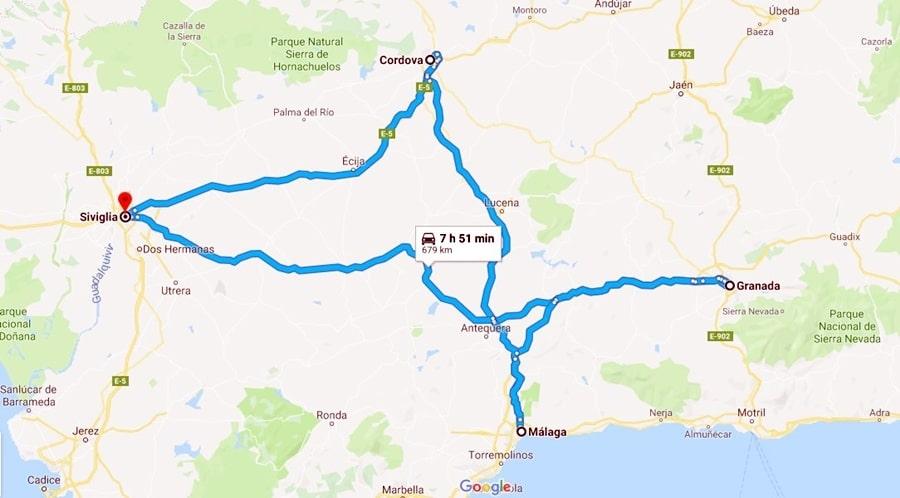 itinerario-andalusia-maps-mappa-cartina Il mio tour in Andalusia di 7 giorni low-cost e fai da te