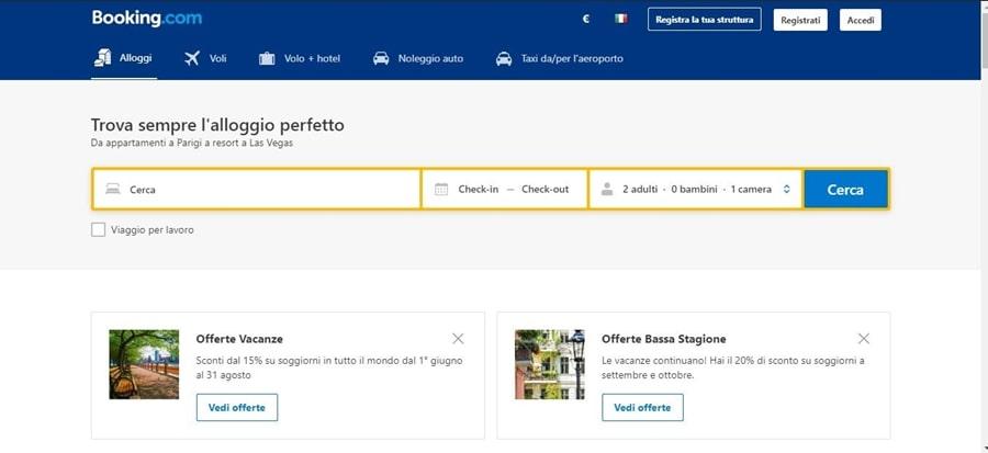 schermata-homepage-booking Come funziona Booking: informazioni utili per gestire le prenotazioni