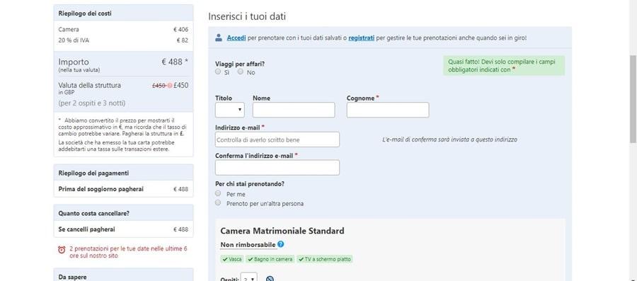schermata-prenotazione-inserisci-dati-booking Come funziona Booking: informazioni utili per gestire le prenotazioni