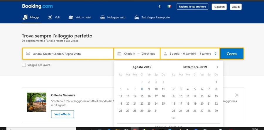 schermata-ricerca-booking Come funziona Booking: informazioni utili per gestire le prenotazioni