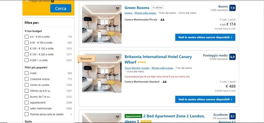 schermata-risultati-ricerca-booking Come funziona Booking: informazioni utili per gestire le prenotazioni