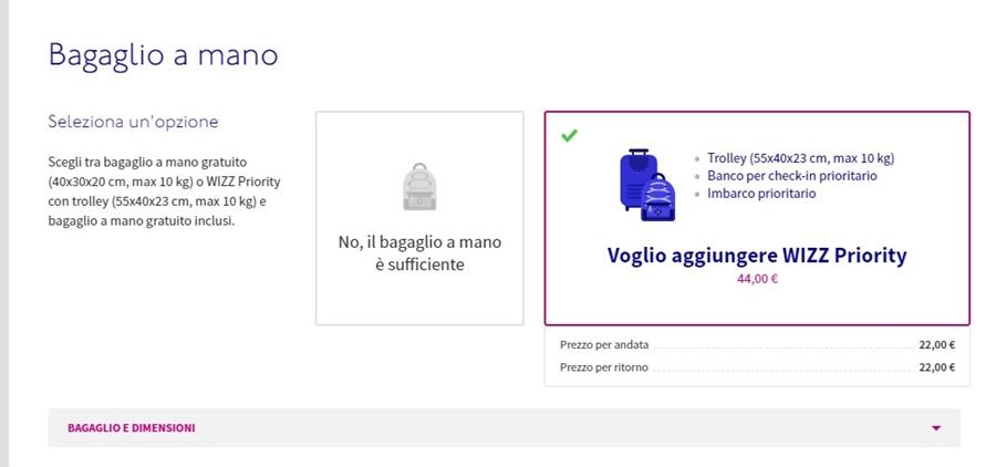 wizz-air-prenotazione-bagaglio-03 Bagaglio Wizz Air: dimensioni, peso e costi